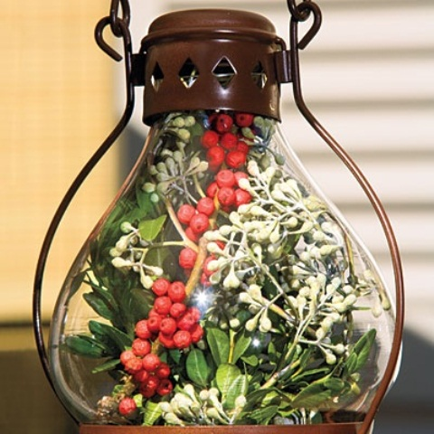 Don't like candles? Stuff your lanterns with cranberries and evergreens!