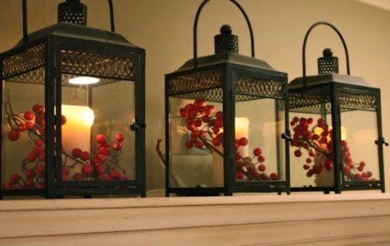 Add a few Christmas-inspired flourishes to your lanterns to make them look more seasonal.