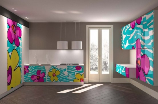 Fun And Colorful Kitchens With Crazy Patterns by Aster Cucine