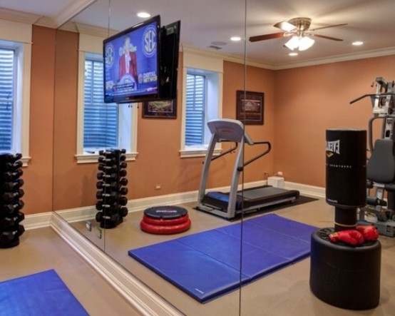 58 well equipped home gym design ideas digsdigs for Small exercise room