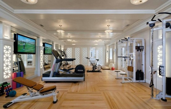 58 well equipped home gym design ideas digsdigs for Luxury home gym