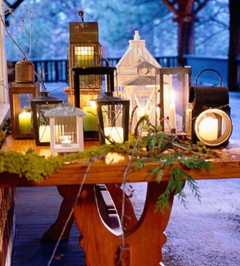 Create a beautiful tabletop candle lantern arrangement if you have a side table on your porch.