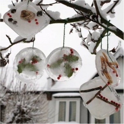 DIY ice ornaments is a great way to decorate outdoor trees if it's cold outside.