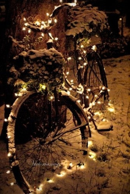 Do you have an old bike? Turn into a glowing display with Christmas lights!