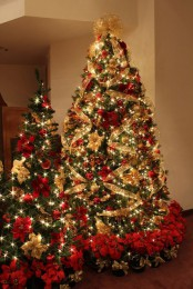 a duo of Christmas trees decorated in gold and red, with lots of lights, ornaments and lots of poinsettia