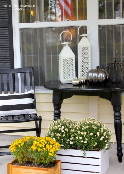 potted blooms in crates are always a good idea to spruce up your porch for spring