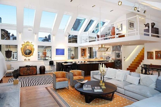 Amazing Stockholm Loft With 16 Feet Ceilings