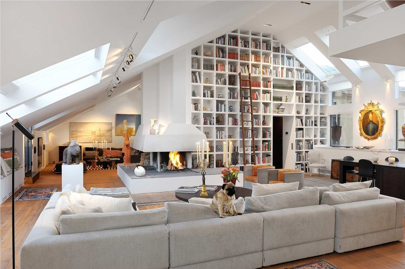 Amazing stockholm loft with 16 feet ceilings digsdigs for One big room apartment