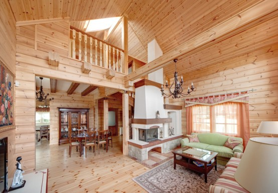 Cozy Wooden Country House Design With Interior In Colors Of - Cozy wooden country house design with interior in colors of provence