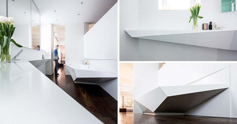Picture Of angular bathroom inspired by the shape of ice  2
