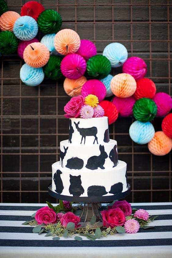 animal cake for a bold modern baby shower