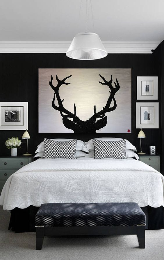 33 stylish masculine headboards for your man s cave for Mens black bedroom furniture