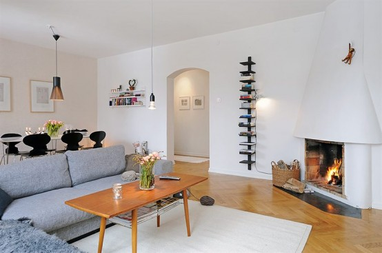Apartment With a Real Fireplace in The Living Room - DigsDigs
