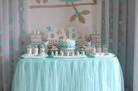 aqua dessert table for a boy baby shower