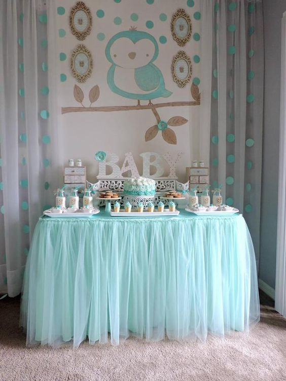 aqua dessert table for a boy baby shower