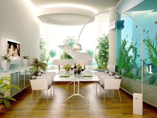 a refined contemporary dining room in white with one wall fully taken by a large aquarium that creates a mood here