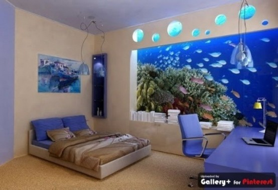 an aquarium that takes a whole wall is a stylish idea for a contemporary bedroom and it will inspire and relax you
