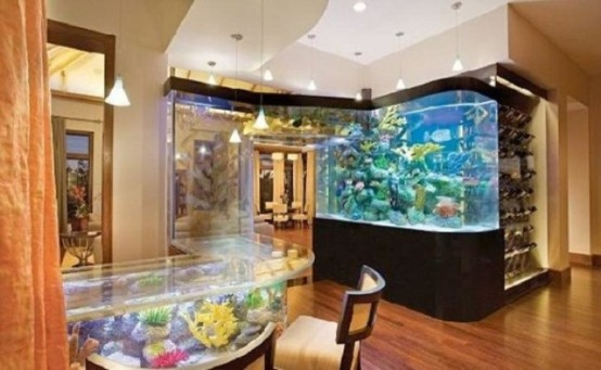 a large aquarium clad in black, an aquarium table make the space feel like under the sea
