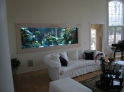 a built-in framed aquarium makes this space bolder, cooler and more relaxed