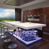 a statement kitchen decor feature – a kitchen island with a built-in aquarium with no fish is a very bold and amazing option