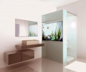 a small aquarium built into a shower wall will give you a feel of swimming in the sea
