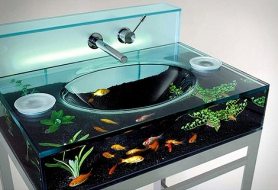 an aquarium sink is a unique idea that will make your bathroom very spectacular and cool