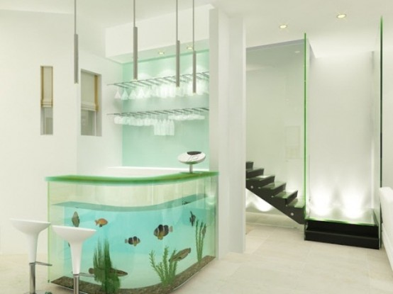 an aquarium bar stand is a gorgeous and statement decor feature for your space, whether it's a breakfats or a drink bar
