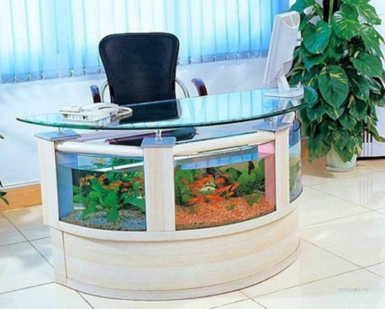 a desk with an aquarium is a relaxing idea for those who love the sea and want something natural around while working