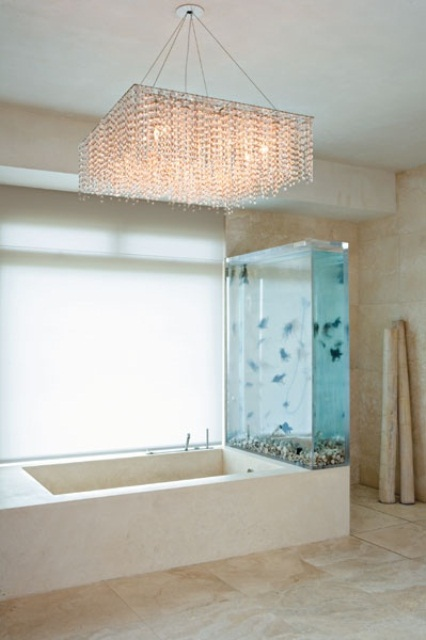 an aquarium wall on one side of your tub is a lovely idea to relax and feel like swimming in the sea