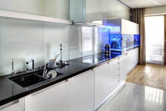 a minimalist white kitchen with black countertops and a large aquarium decorated in a similar way is a very lovely idea