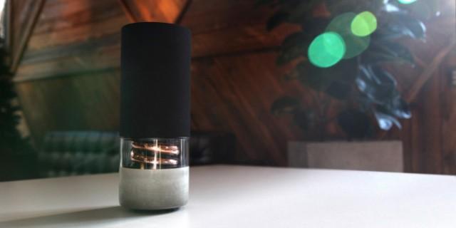 Picture Of architectural pavilion speaker of concrete copper and oak  6