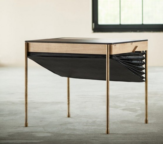 Art Deco Accordion-Inspired Desk by Magdalena Tekieli