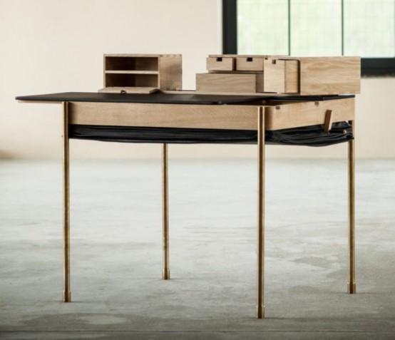 Art Deco Accordion Inspired Desk
