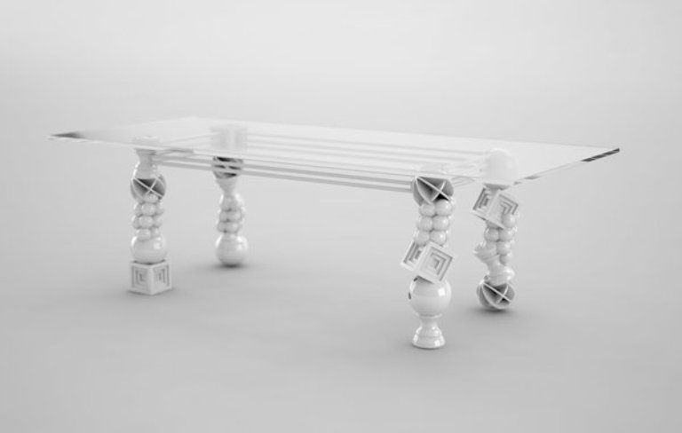 Art Deco Dining Table With Unusual Legs