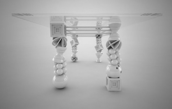 Art Deco Dinig Table With Unusual Legs