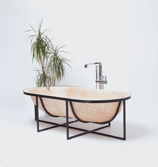 Asian Boat-Inspired Bathtubs Made Of Pressed Woven Veneer