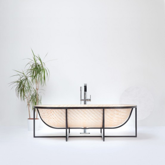Asian Boat Inspired Bathtubs Made Of Pressed Woven Veneer