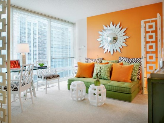 Asian Inspired Orange Green Living Room