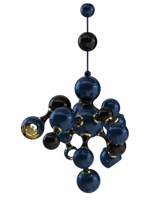 Atomic Suspension Lamp Of Retro Styled Spheres