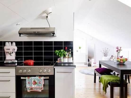 Attic Scandinavian Apartment With Bright Accents
