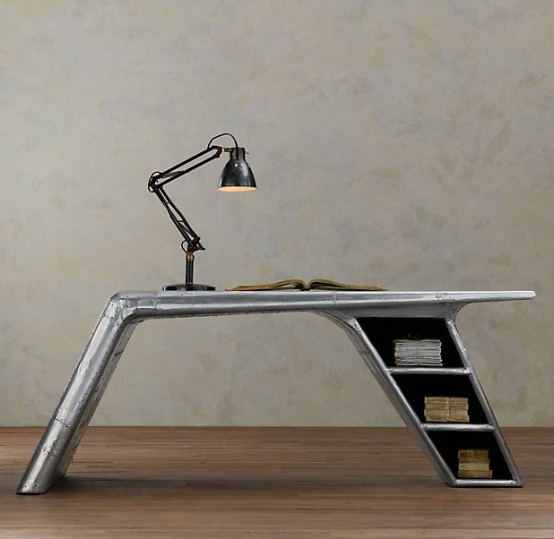 Aluminum Desk Shaped Like The Bent Wing Of A Plane