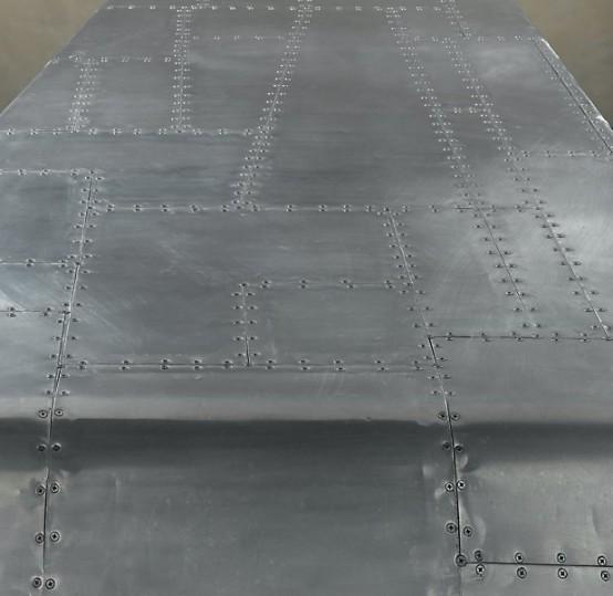 Restoration Hardware Airplane Desk: Aluminum Desk Shaped Like The Bent Wing Of A Plane