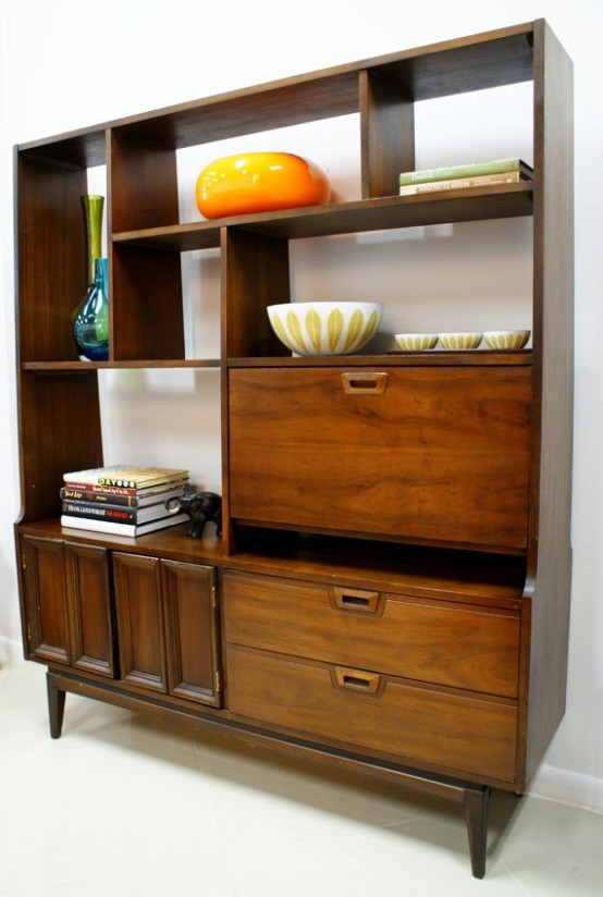 a large retro-inspired plywood storage unit with open shelves and closed storage compartments on legs is a stylish idea to add chic to your interior