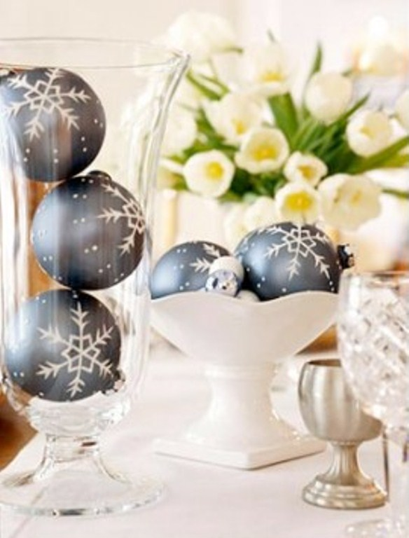 a bowl and a glass with blue snowflake Christmas ornaments are amazing for holiday decor