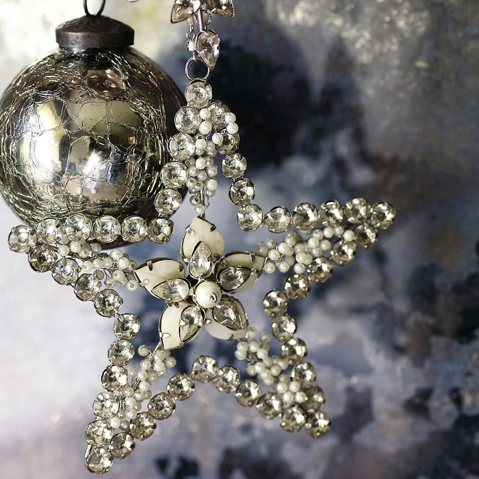 a silver and a shiny rhinestone Christmas ornament duo is amazing for winter and holiday decor