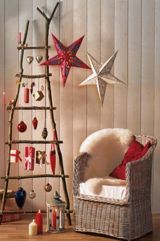 a ladder with various Christmas ornaments is a cute and very mobile Christmas decoration to go for