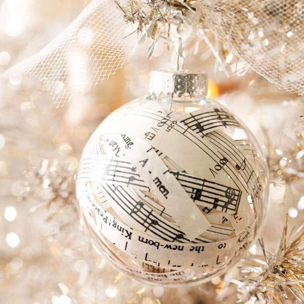 a sheer glass ornament filled with note paper will show your love to music at once