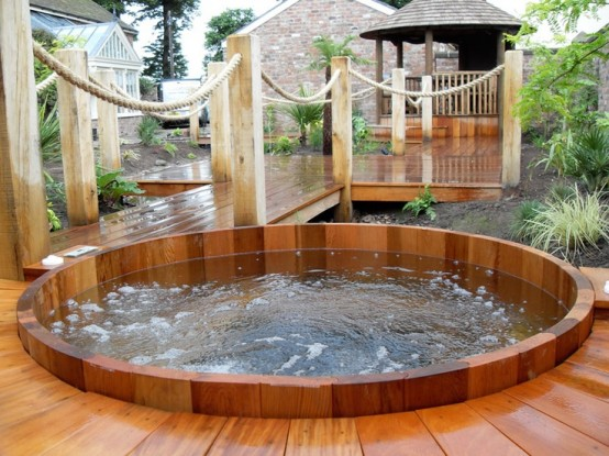 In-deck  hot tub design that's quite easy to access.