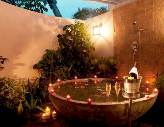 Romantic dinner in a garden hot tub could be a really positive experience. Just don't forget to thing through a romantic light.