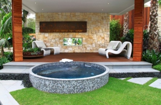Mosaic is also a good material to make your hot tub design special.